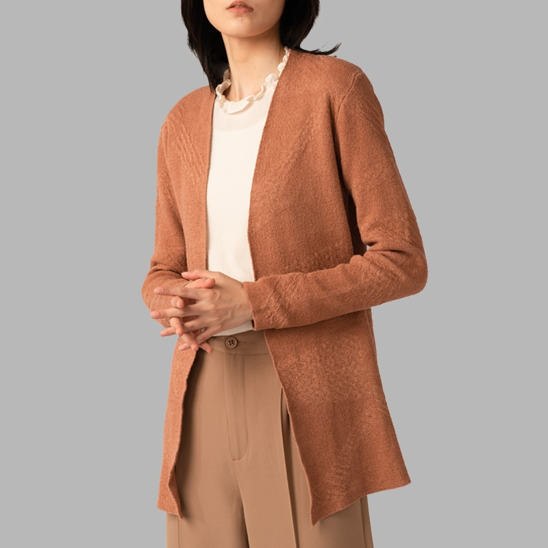 SINBEAUTY 2021 Autumn and Winter Women's Mid-length Cardigan Sweater All-match Exquisite Jacquard Flared Sleeve Jacket enlarge
