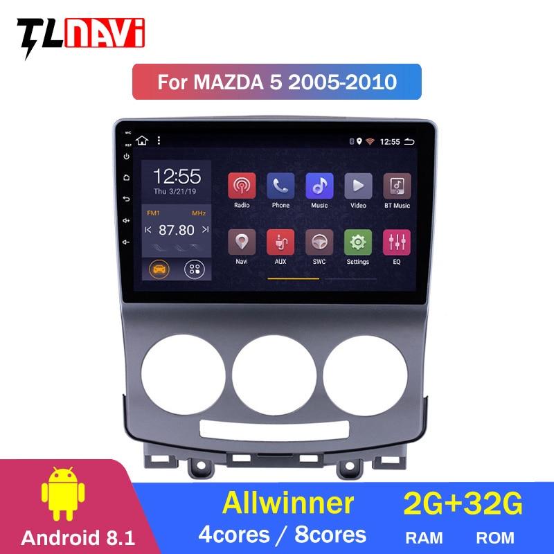 Reproductor de dvd para coche Android 8,1 para Mazda 5 2005 2006 2007 2008 2009 2010 Mazda5 radio 1024*600 gps wifi Octa core IPS pantalla BT RDS