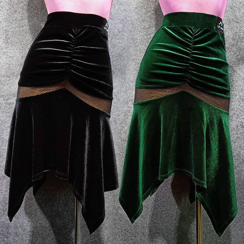 Latin Dance Skirt Female New Irregular Autumn and Winter Velvet Stage & Dance Wear