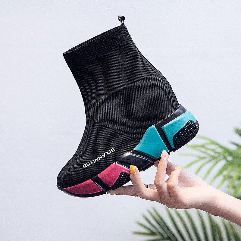 Chaussure femme malha sapatos de plataforma para as sapatilhas femininas 2020 cunha tênis feminino salto alto sapatos mulher casual sapatilha nova