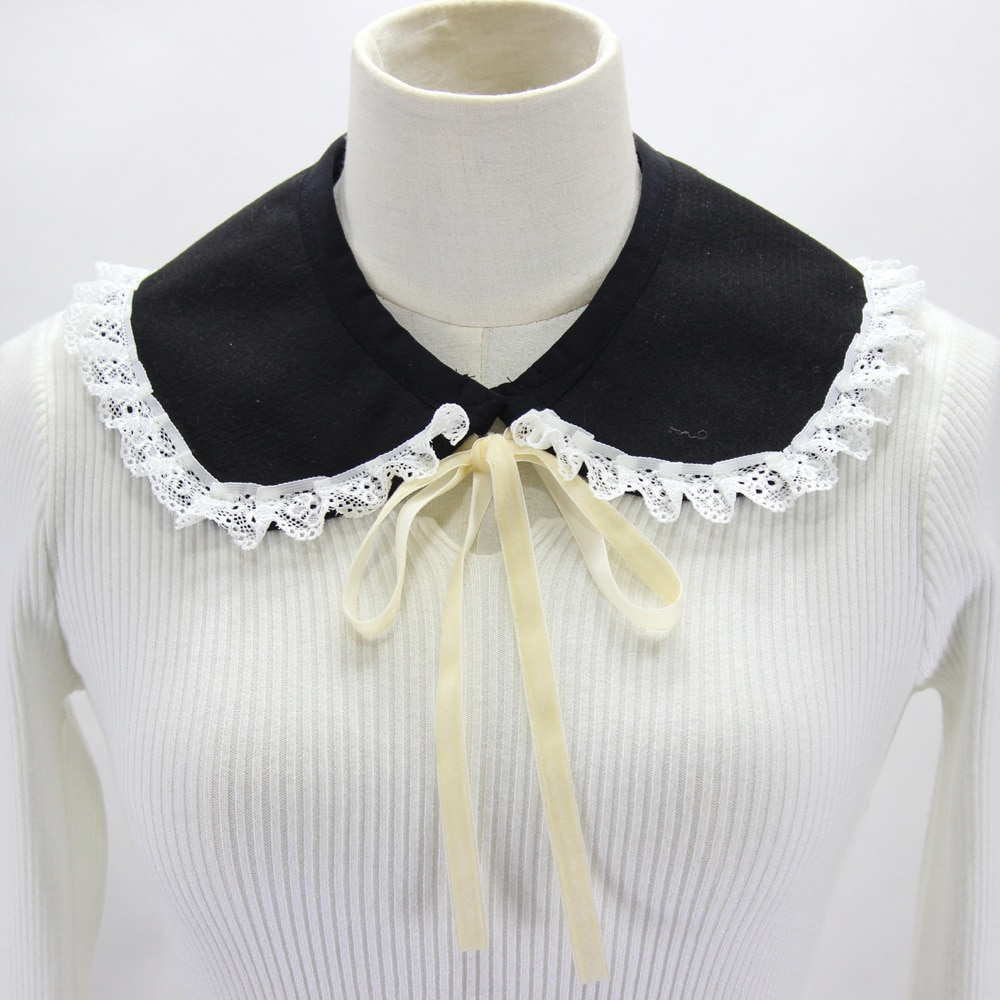 2021 Women Shirt Detachable Collar Lace Floral Fake Collars Shawl Removable False Collar Half Shirt Tops Sweater Decorative