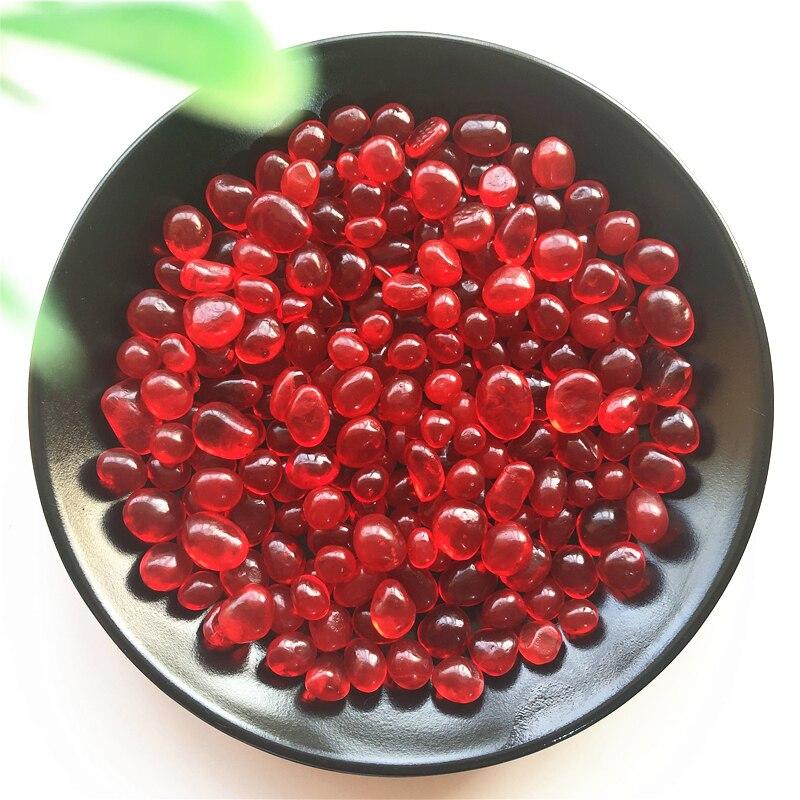 50g K5 8-12mm cristal rojo grava coloreado glaseado Buda de cristal acuario pecera jarrón al por mayor pecera piedras