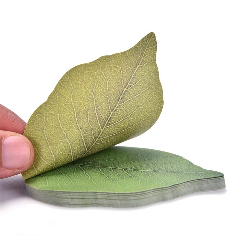 Diy pegatina Kawaii de papel de hoja verde Linda Memo Pad nota otoño coreano Kraft notas planificador