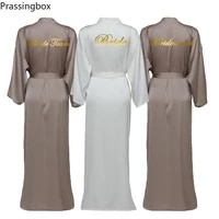 silk satin long robes long sleeve brown custom bridesmaid robes bride robe women long wedding bathrobe and homewear