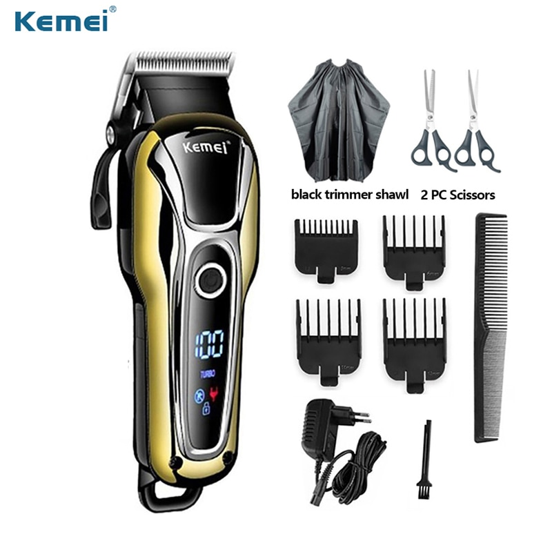 Kemei-ماكينة قص الشعر الاحترافية القابلة لإعادة الشحن للرجال ، ماكينة قص الشعر مع شاشة LCD ، 2021
