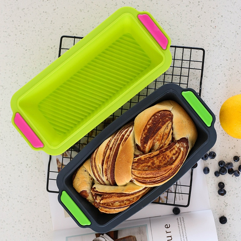 Molde de bolo retangular de silicone de platina resistente a alta temperatura não vara bolo retangular molde de brinde pode ser colocado no ove