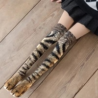 new creative animal foot printed women over the knee socks cartoon cat tiger claw ladies 3d print funny animal high socks