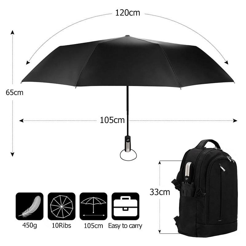 Fully-Automatic Umbrella Rain Wind Resistant 3Folding Large Travel Business Car 10K Clear Umbrella for Man Women Umbrella enlarge