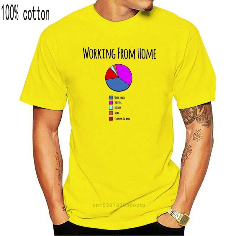 New Novelty T Shirt Working From Home Pie Chart Lazy Self Employed Joke Casual Tee Shirt
