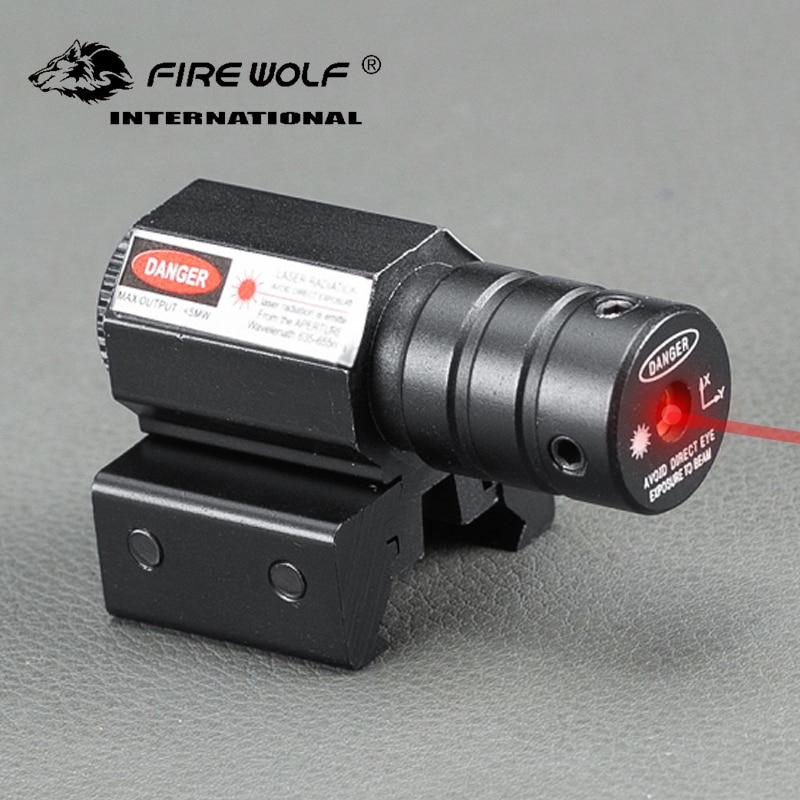 Fogo lobo mini táticas 635-655nm red dot mira laser rifle para pistola ajustar 11mm & 20mm picatinny trilho ponteiro laser