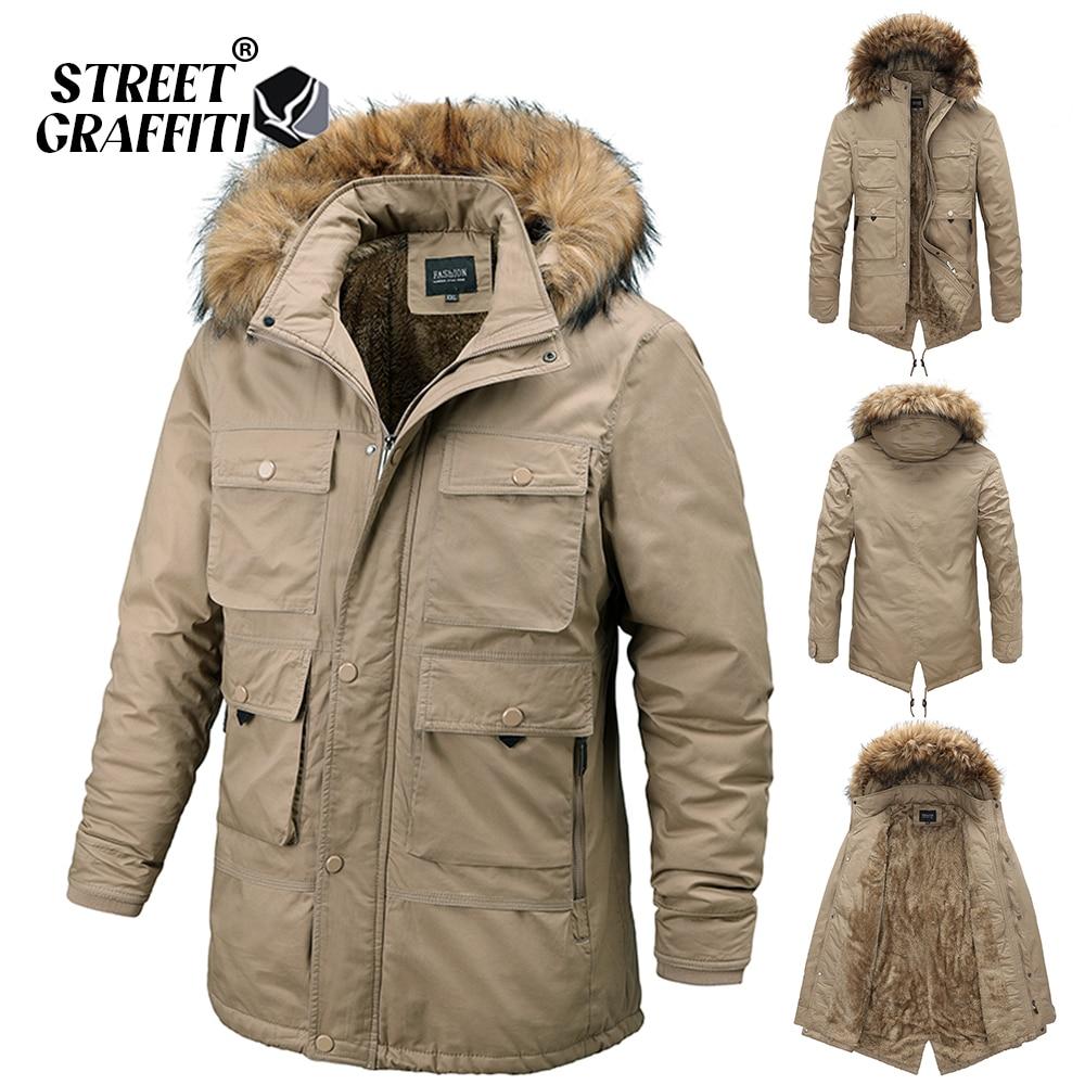 2021 Men Winter Casual Thick Warm Cotton Parkas Autumn Windproof Vintage Quality Jacket Coats Fur Co