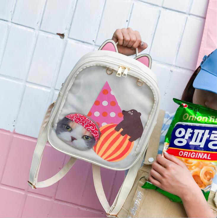 Mochila De mujer Color caramelo bolsa transparente adorable Ita bolsa de oreja de gato PU mochilas de cuero para mujer bolsos para escolares adolescentes niñas