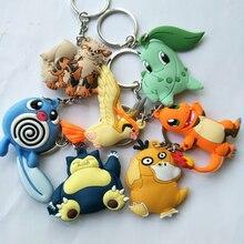 Pokemon ronflement dessin animé PVC porte-clés Charmander Chikorita psycanard mignon drôle pendentif porte-clés brelok do kluczy enfants jouet cadeaux
