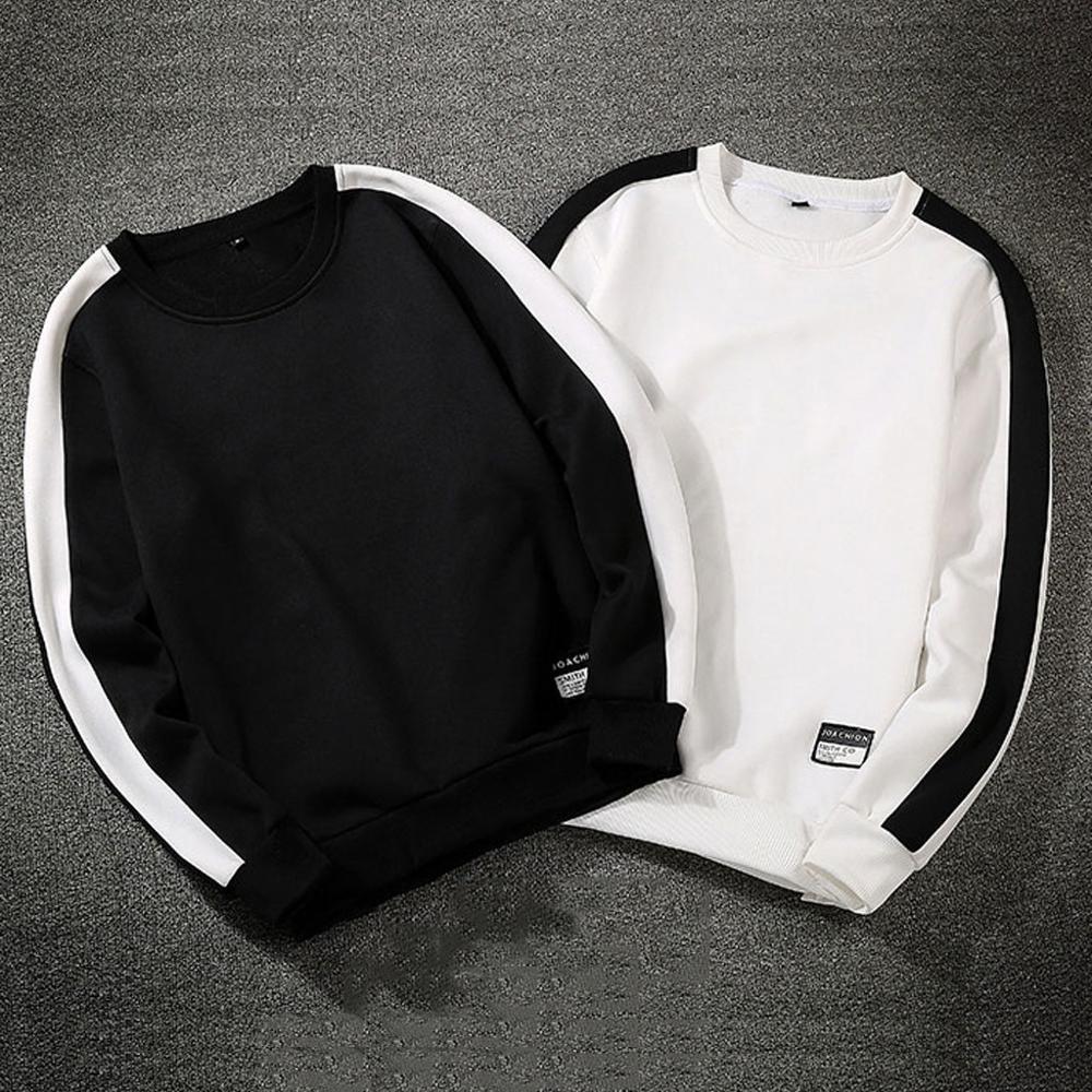 Sudaderas informales holgadas 2020 de color blanco y negro para hombre, estilo informal a la moda, cuello redondo, manga larga, Sudadera con capucha