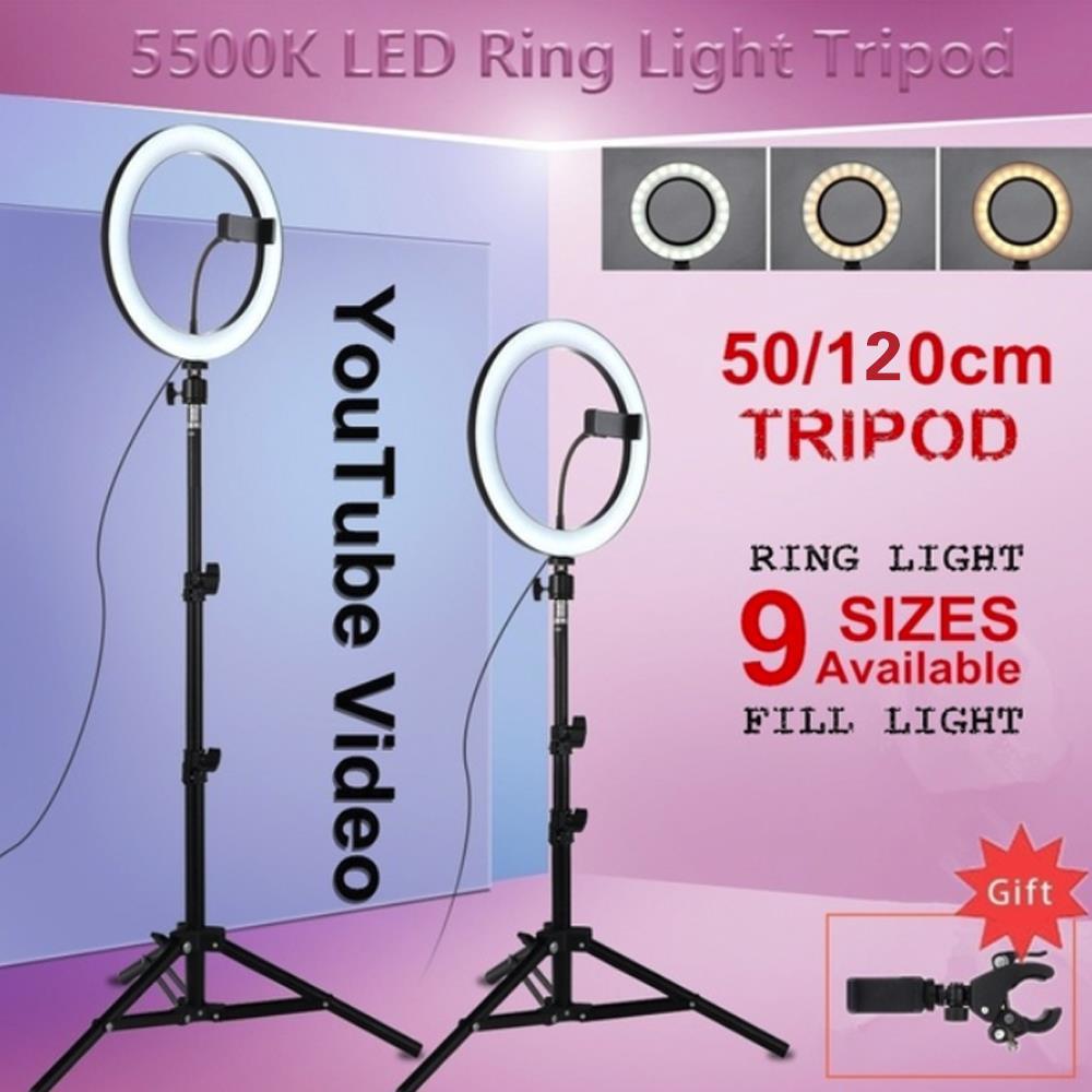 Anillo de luz LED anillo de luz de relleno Luz de vídeo lámpara foto Sudio tres velocidades soporte maquillaje Selfie fotografía regulable con trípode