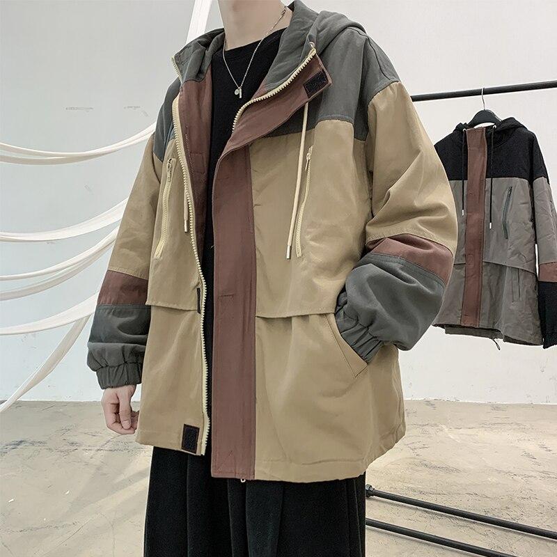 الكورية الرجال الربيع الخريف منفذها الستر رجل خليط عارضة سترة معطف الأزياء مقنعين سستة عمال سترة قميص