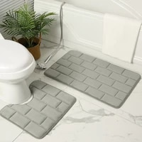 2 piece set bath floor mat absorbent non slip shower room door mats toilet floor mat washable and absorbent soft bathroom rug
