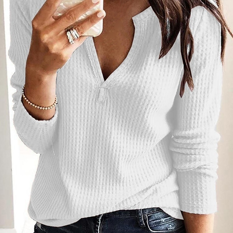 Women Clothing Autumn Spring Basic T Shirt New Fashion Long Sleeve V-Neck Casual Slim Tops