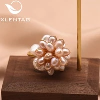 xlentag 925 sterling silver natural fresh water pearl flower adjustable ring for women wedding engagement jewelry bijoux gr0241