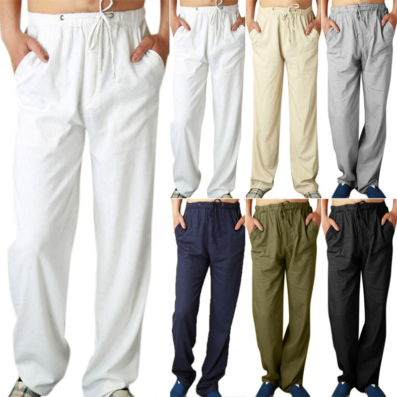 Men Straight Leg Loose Long Pants Bottoms Drawstring Joggers Gym Casual Trousers