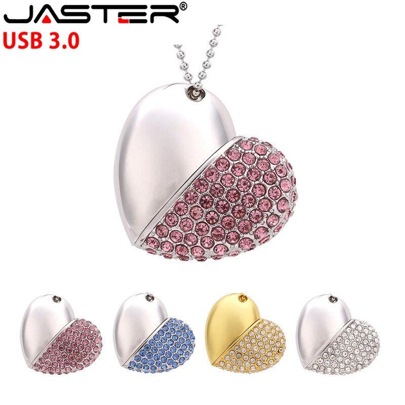 USB JASTER 3,0 Pen drive llavero de metal de 64gb 32gb 16gb de Metal de corazón de cristal usb flash drive impermeable del logotipo del cliente
