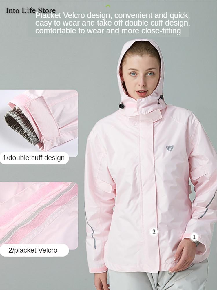 Motorcycle Woman Raincoat Rain Jacket Rain Pants Waterproof Pink Rain Coat Camping Double Layer Breathable Outdoor Hiking Gift enlarge