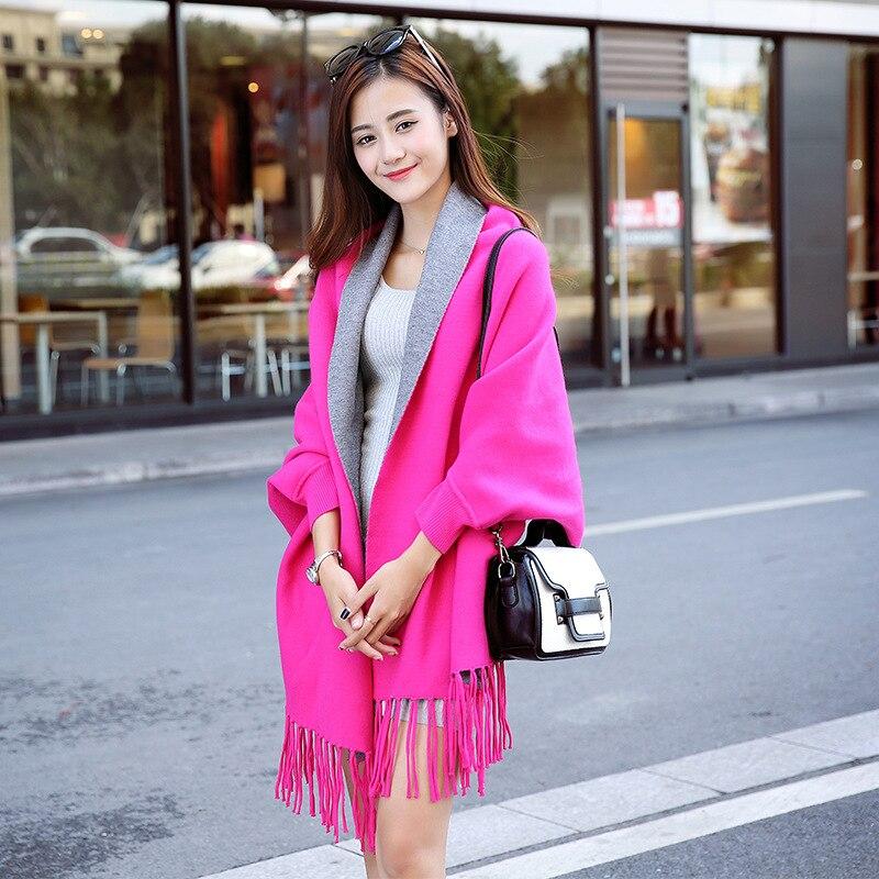 2020 gran tamaño doble lado bufanda invierno falso Cachemira Poncho mujeres sólido diseñador femenino manga larga chal vintage