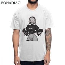Sexy Ahegao Waifu YoRHa 2B NieR Autômatos T Shirt Design Exclusivo Para O Homem T-shirt Streetwear