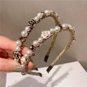 Baroque Ribbon Stone Pearl Crystal Headbands For Women Korea Hair Accessories Retro Vintage Crown Hairbands Wholesale Dropship