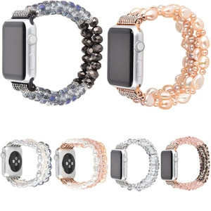 Elastic Stretch Crystal Pearl Bracelet For Apple Watch Band Series 5 4 40MM 44MM Women Bling Strap for iWatch 1 2 3 38mm 42mm