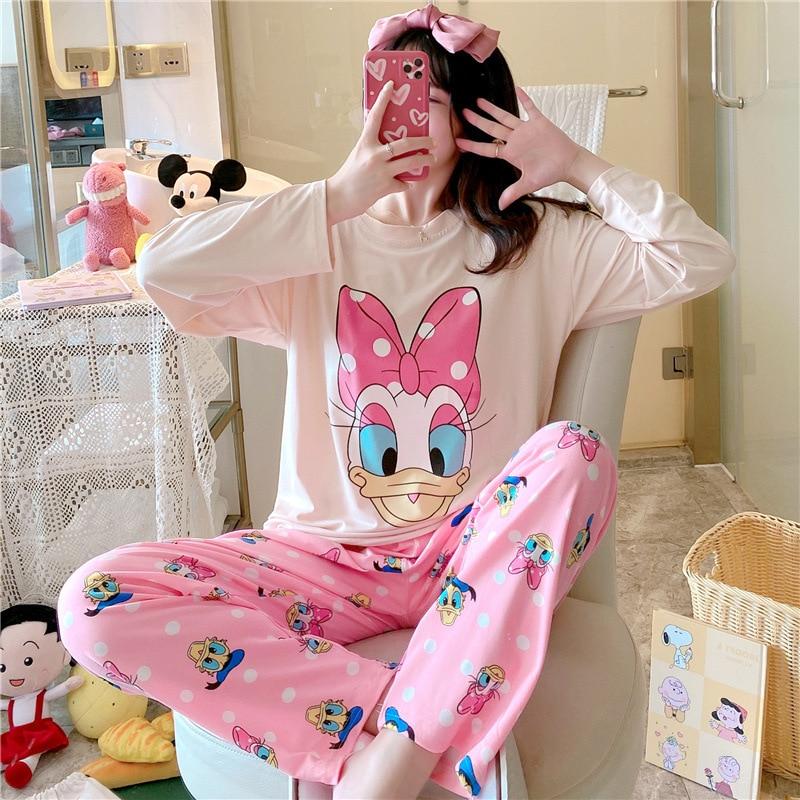 Дисней мультфильм Минни белка весна и осень пижамы женские осенние милые мультфильмы с длинным рукавом порошок домашний костюм пижамы