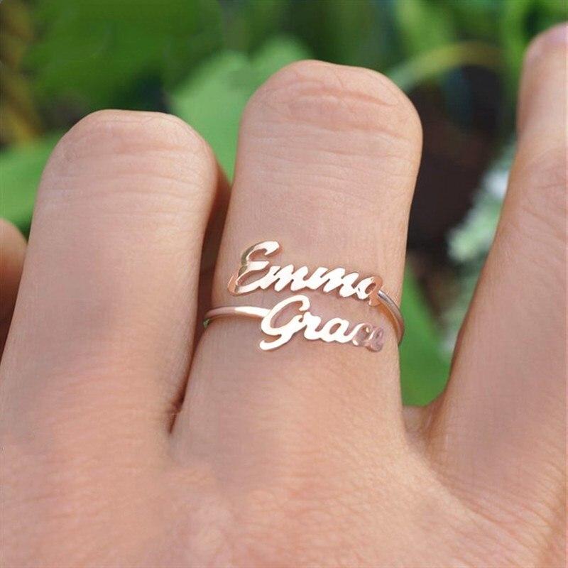 Dubbele Naam Ringen Voor Vrouwen Mannen Custom Twee Naam Ring Gepersonaliseerde Sieraden Bruidsmeisje Gift Verstelbare Rose Gold Anillos Mujer