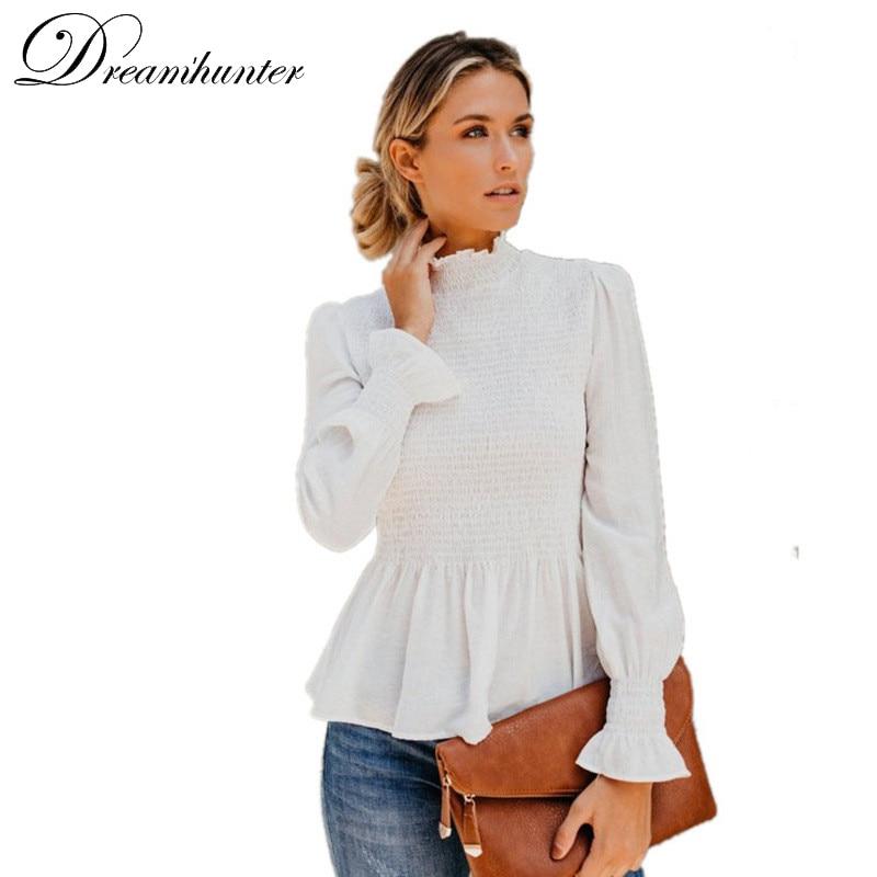 Mulheres elegantes chiffon blusa lanterna mangas cor sólida plissado gola alta tops camisa 2019 outono sexy feminino magro blusa