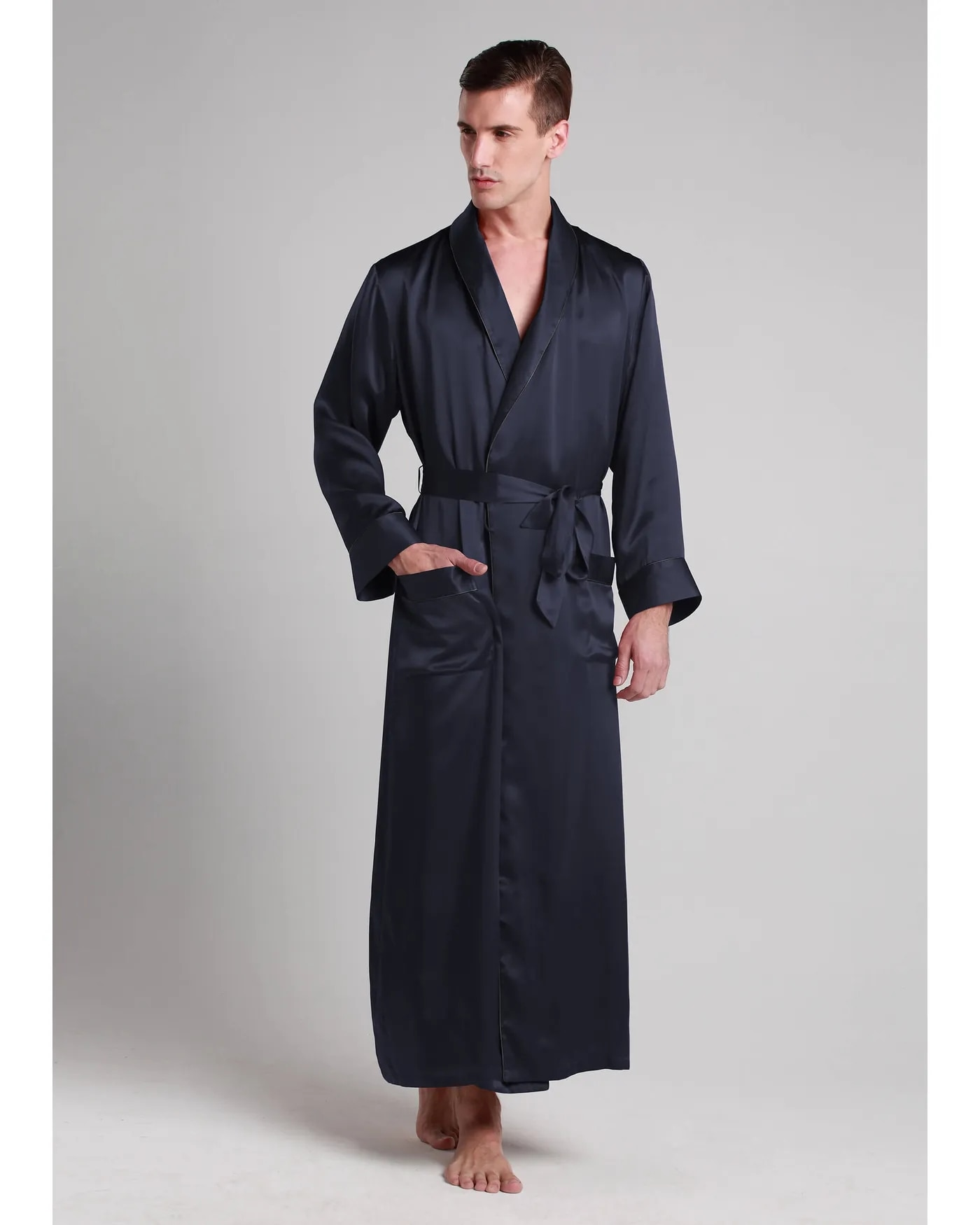 19 Momme Contra Full Length Pure Silk Men's Robe Long Bathrobe Home Lounge Sleepwear Nightgown Robes Can Customized