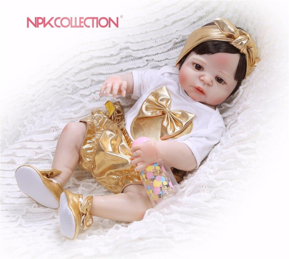 NPK 57CM golden Full Body Silicone Girl Reborn Babies Doll Toys Princess Babies Doll Wig Hair Birthday Gift Xmas gift