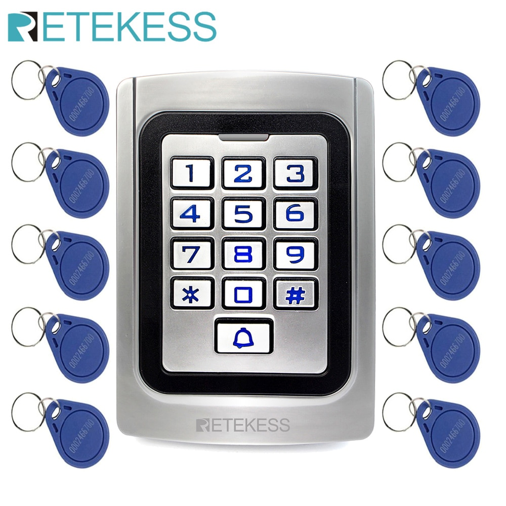RETEKESS T-AC04 لوحة المفاتيح باب نظام التحكم في الوصول IP68 مقاوم للماء حافظة معدنية سيليكون الأمن دخول باب القارئ تتفاعل 125Khz EM