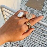 3pcsset vintage boho white stone finger rings set punk bohemian baroque big metal statement ring for women party jewelry gift