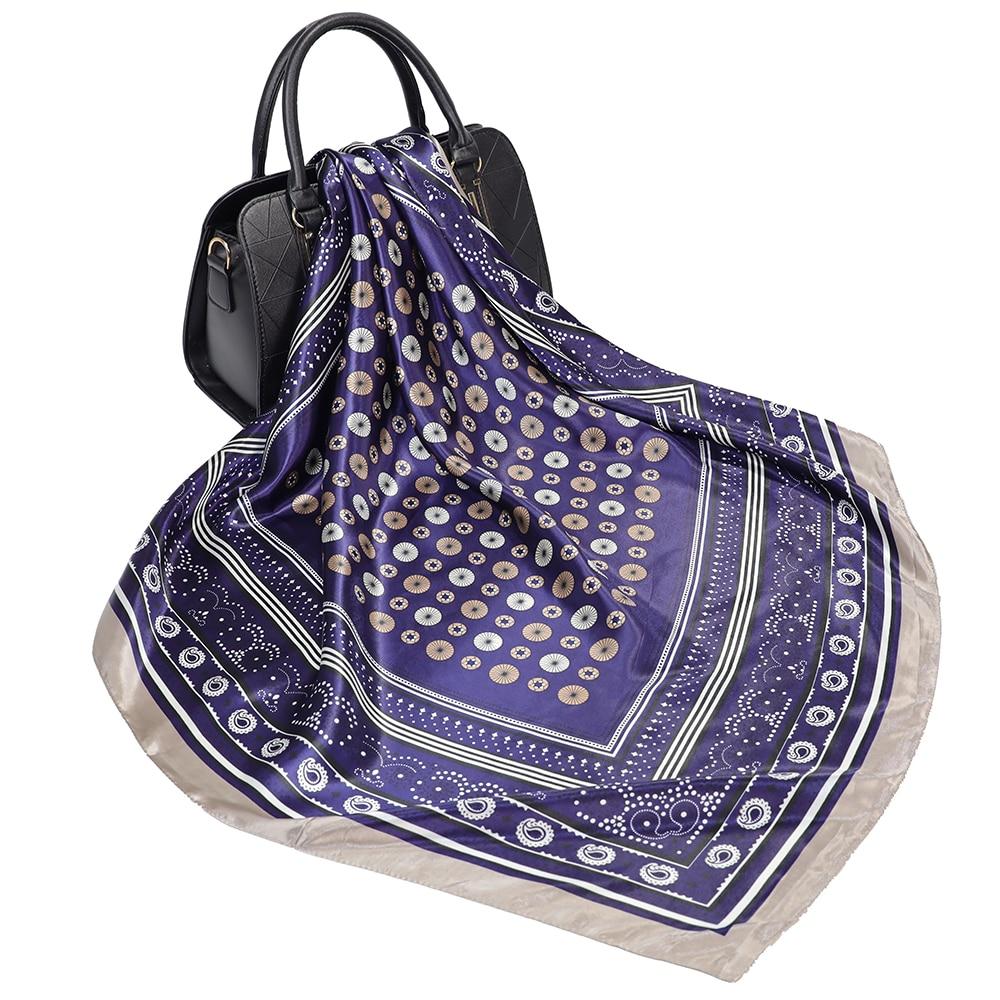 Bufanda con estampado de lunares para mujer, chal satinado de seda suave,...