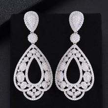 LARRAURI Luxury Trendy Water Drop Cubic Zirconia Naija Wedding Party Earring Fashion Jewelry for Women