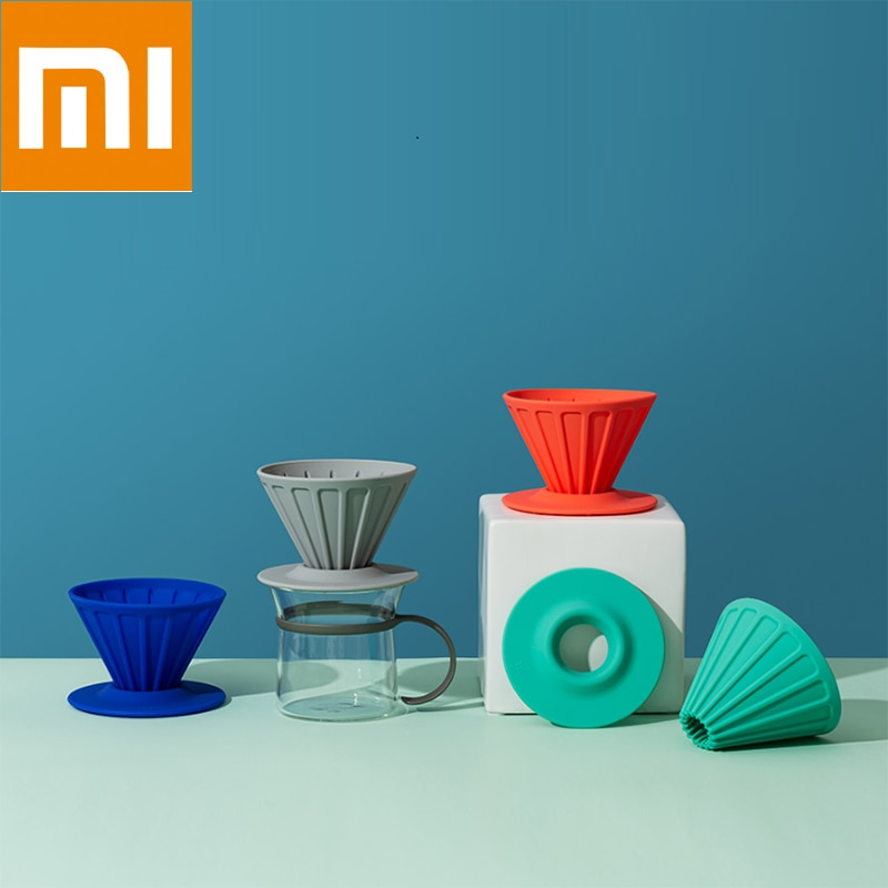 شاومي mijia youpin سيليكون تصفية كأس قابلة لإعادة الاستخدام المحمولة فلتر القهوة شقة حامل فلتر القمع سلة تصفية