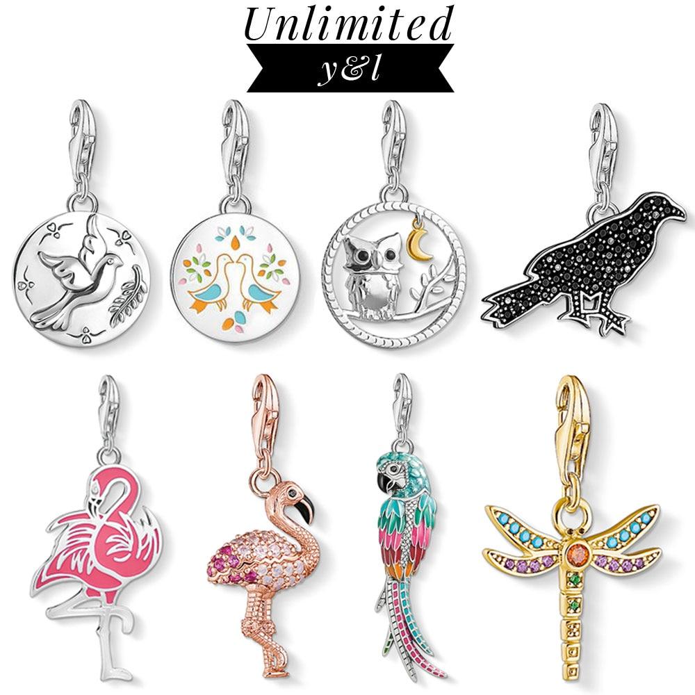 Libellule pendentif à breloques flamants roses hibou colombe perroquet oiseau 925 argent Sterling bijoux accessoires idéal pour bracelet collier femmes hommes