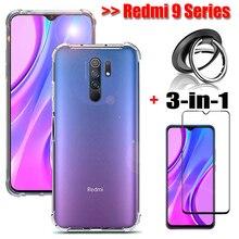 3-in-1 glass + ring case for redmi 9a soft silicone shockproof phone cover redmi9 9c note 9 pro case mi note 9s xiaomi redmi 9 a