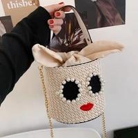 funmardi funny straw handbags women fashion brand bucket crossbody bags 2021 new summer beach bags cute pearl tote bags wlhb2362