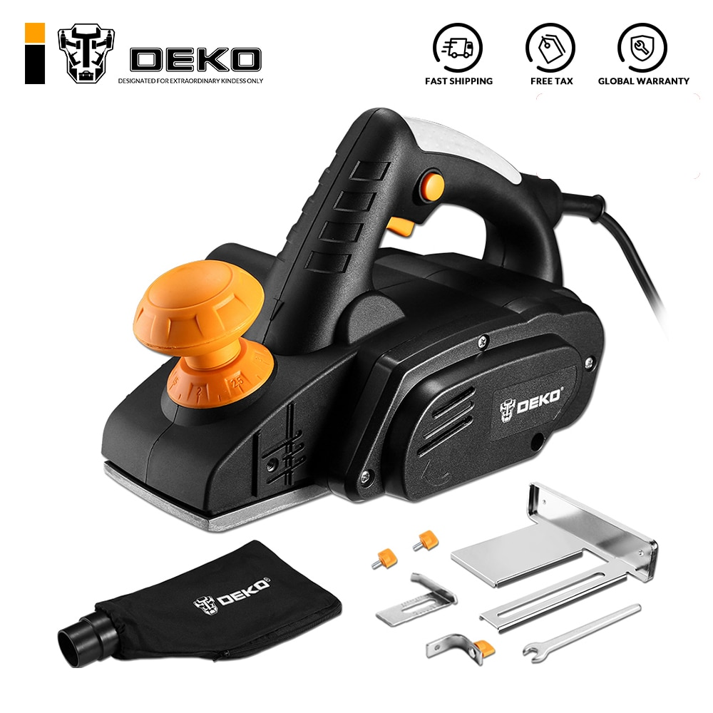 DEKO Electric Hand Planer,900W 16000RPM,Wood Cutting Power Tools with 3mm Adjustable Cut Depth,Ideal Planer Woodworking(DKEP900)
