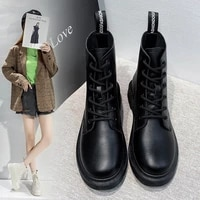 boots women white ankle motorcycle boots female autumn winter shoes punk top layer cowhide round toe lace up short martin boots