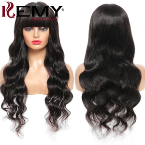Brazilian Body Wave Human Hair Wig With Bangs Natural Color 99J/Burgundy Colored Wigs For Black Women Remy Hair Bangs Wig 150%