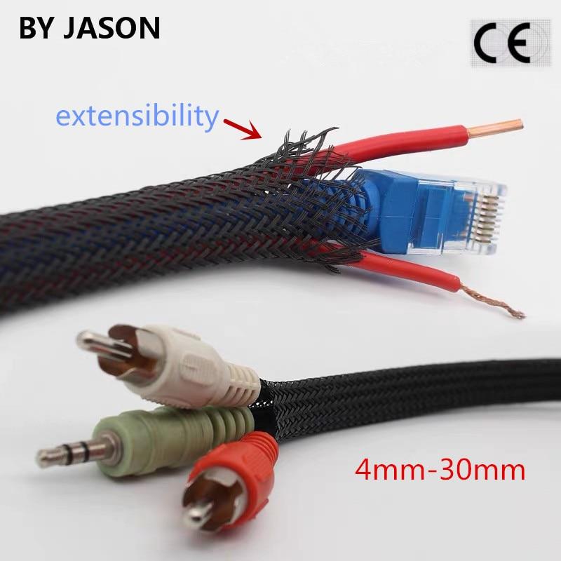 5 medidores preto isolado trança sleeving apertado pet fio cabo de proteção expansível cabo manga fio glândula 4-30mm