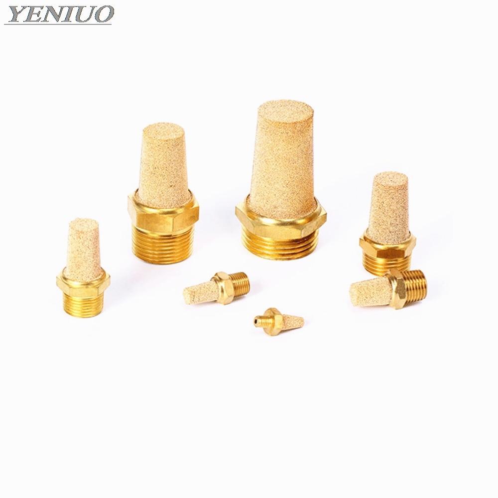 """Accesorio de cobre M5 1/8 """"1/4"""" 3/8 """"1/2"""" silenciador neumático de escape de latón silenciadores neumáticos que encajan el conector reductor del filtro de ruido"""