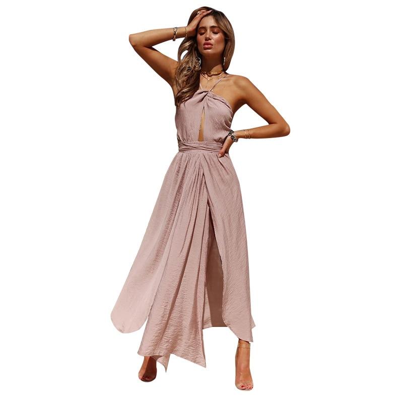2021 New Women Summer Boho Maxi Long Dress Evening Party Beach Dresses Sundress Backless Halter Vestidos