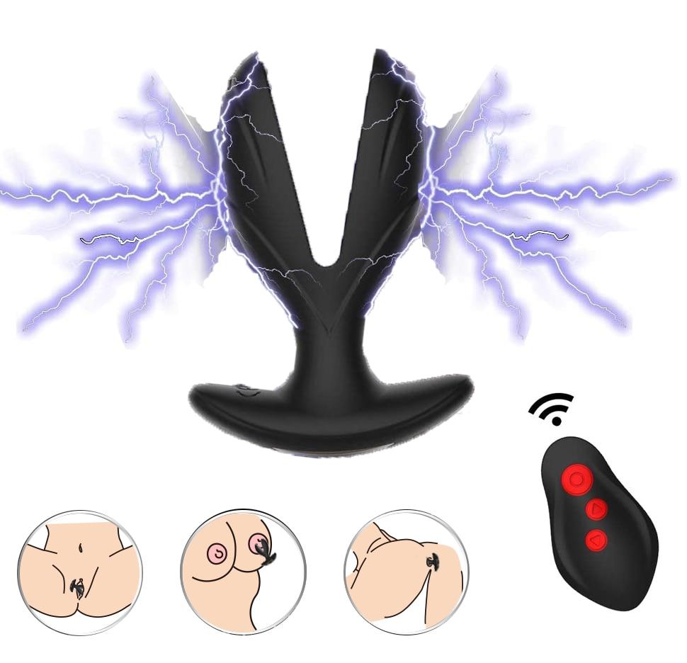 الشرج المتوسع المكونات مع صدمة كهربائية نبض هزاز جهاز تدليك للبروستاتا للرجال التحكم عن بعد الشرج تحفيز الجنس لعب الأزواج